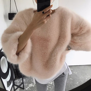 Fuzzy Three Quarter Batwing Sleeve Sweatshirt