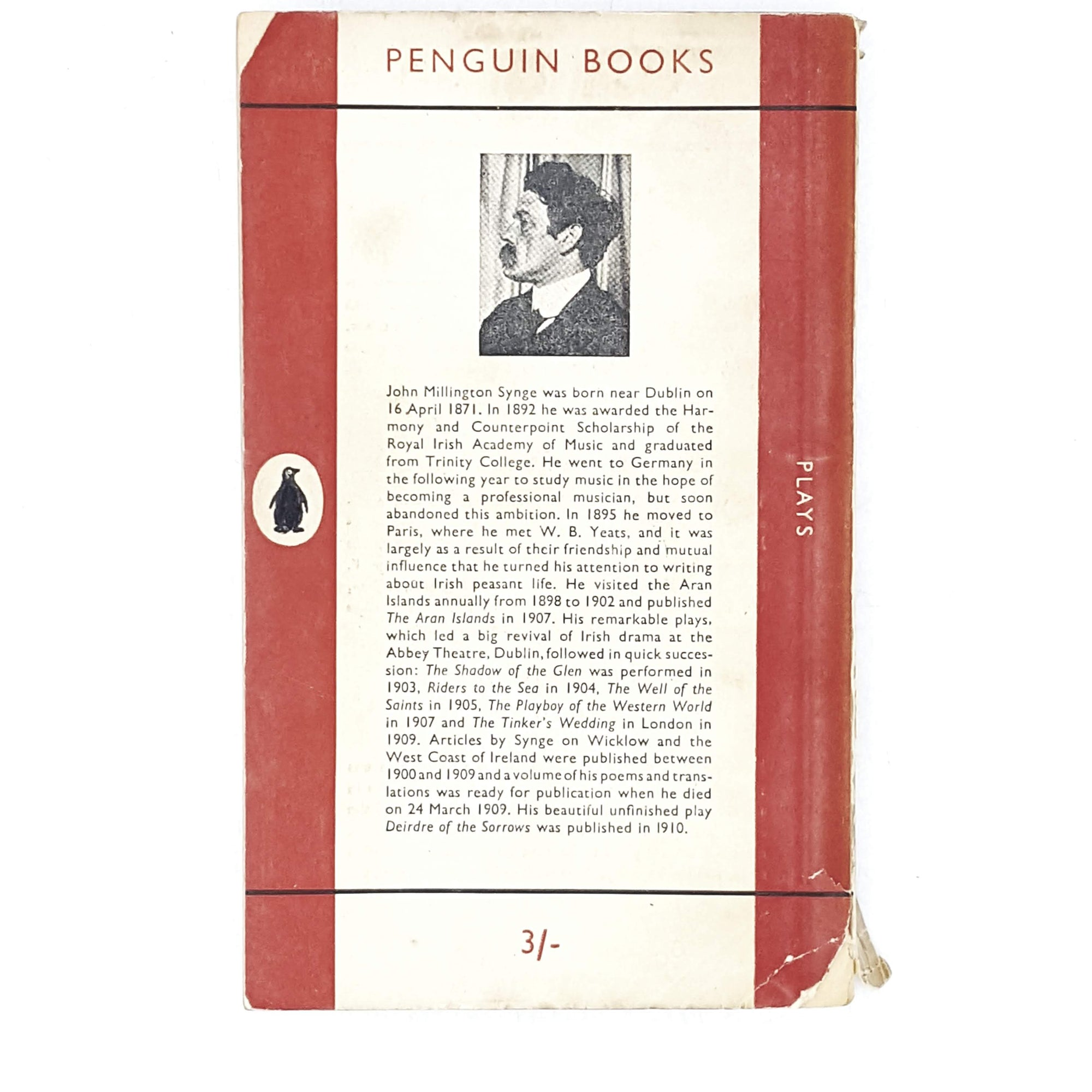 first-edition-penguin-red-collected-plays-of-john-m.-synge-1952-country-house-library
