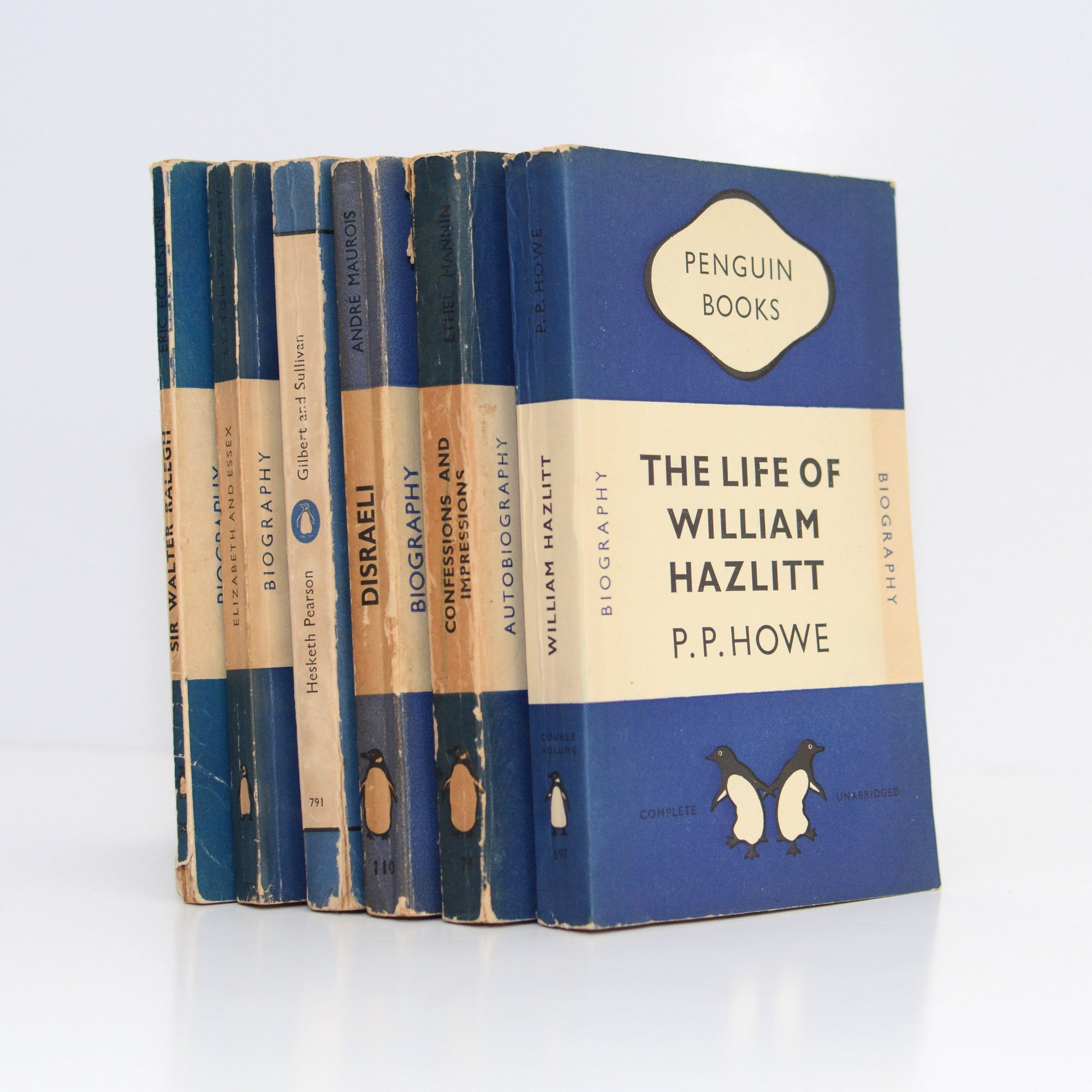 Four Book Collection of Dark Blue Vintage Penguins (Biography, Autobiography)