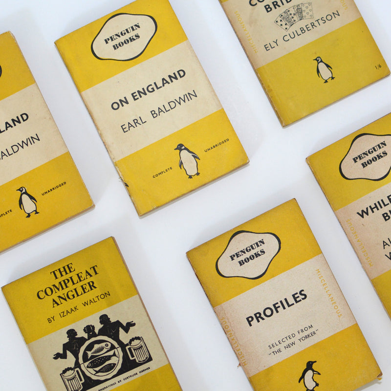 Four Book Collection of Yellow Vintage Penguins