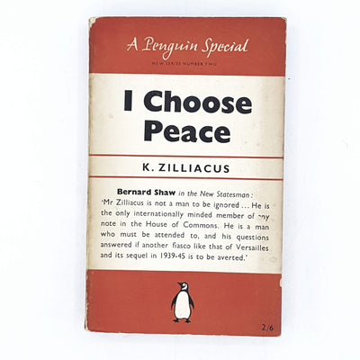 I Choose Peace by K. Zilliacus 1949