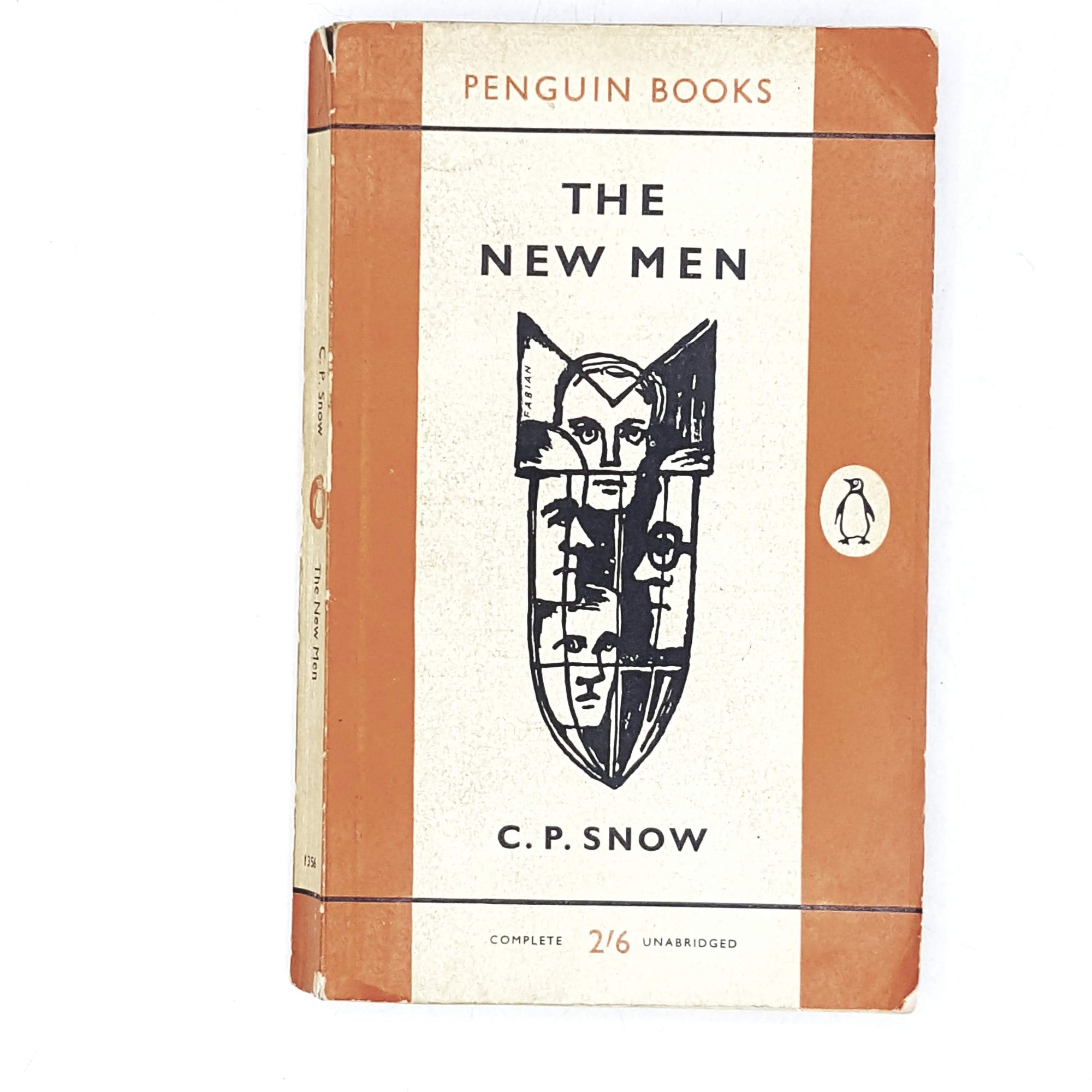 vintage-penguin-the-new-men-by-c.-p.-snow-1961-orange-rare-books-country-house-library