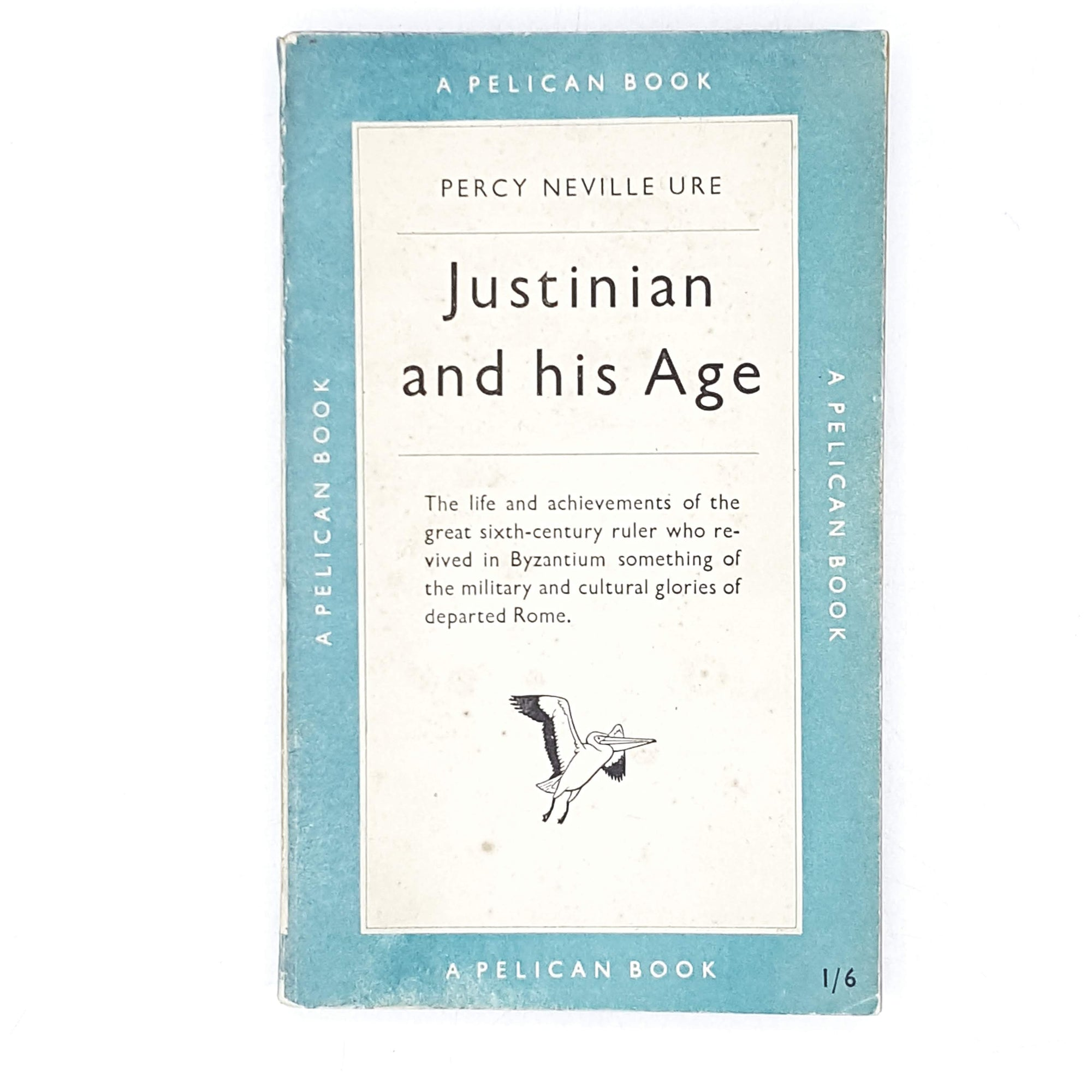 vintage-pelican-justinian-and-his-age-by-percy-neville-ure-1951-antique-pale-blue-country-house-library