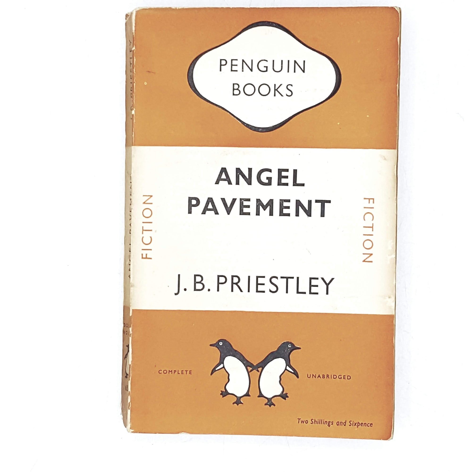vintage-penguin-angel-pavement-by-j-b-priestley-1949-orange-antique-books-country-house-library