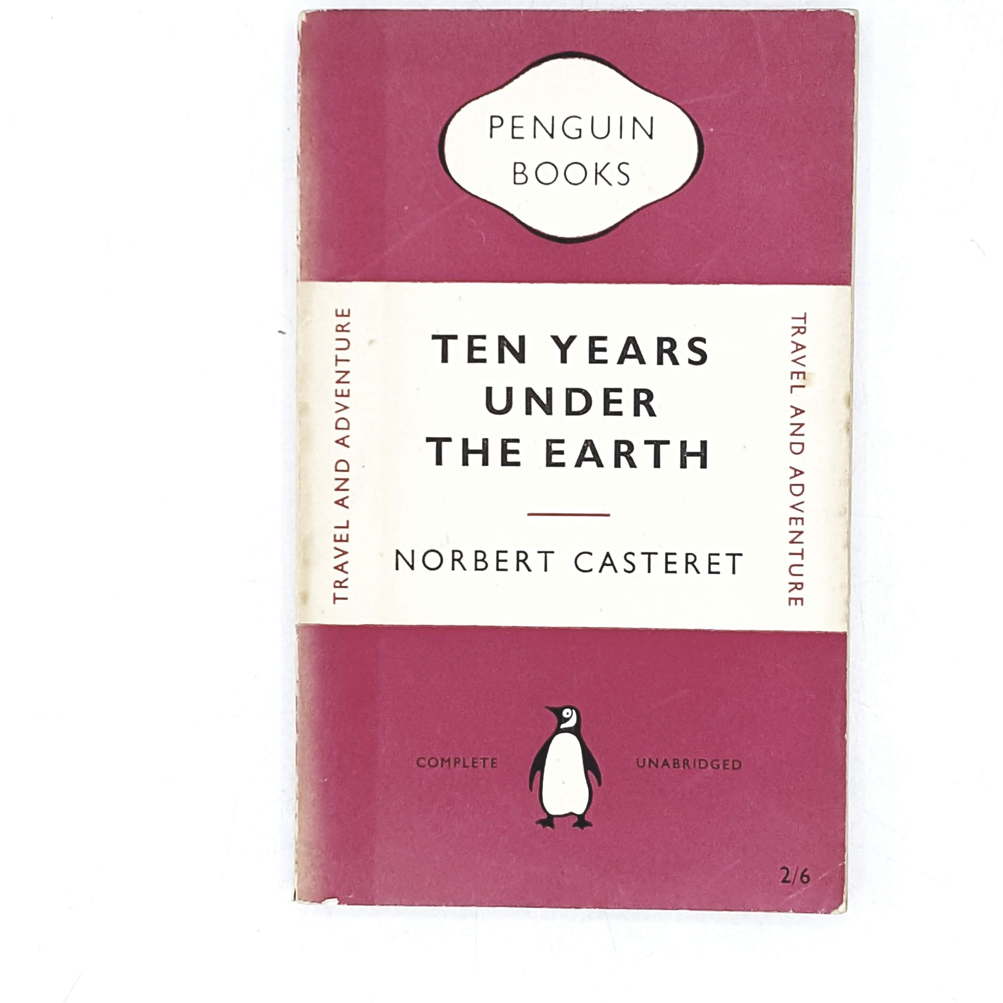 vintage-penguin-ten-years-under-the-earth-by-norbert-casteret-1952-pink-antique-books-country-house-library