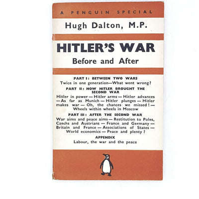 vintage-penguin-hitlers-war-by-hugh-dalton-1940-orange-antique-books-country-house-library