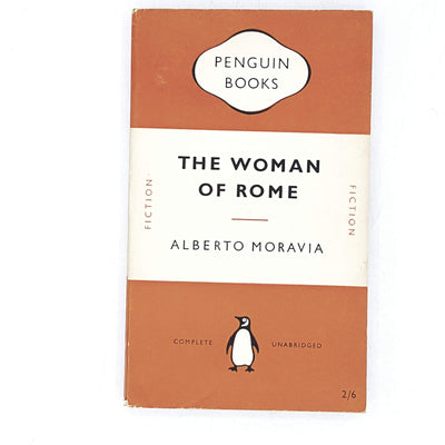vintage-penguin-the-woman-of-rome-by-alberto-moravia-1953-orange-antique-books-country-house-library