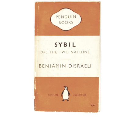 vintage-penguin-sybil-by-benjamin-disraeli-1954-orange-antique-books-country-house-library