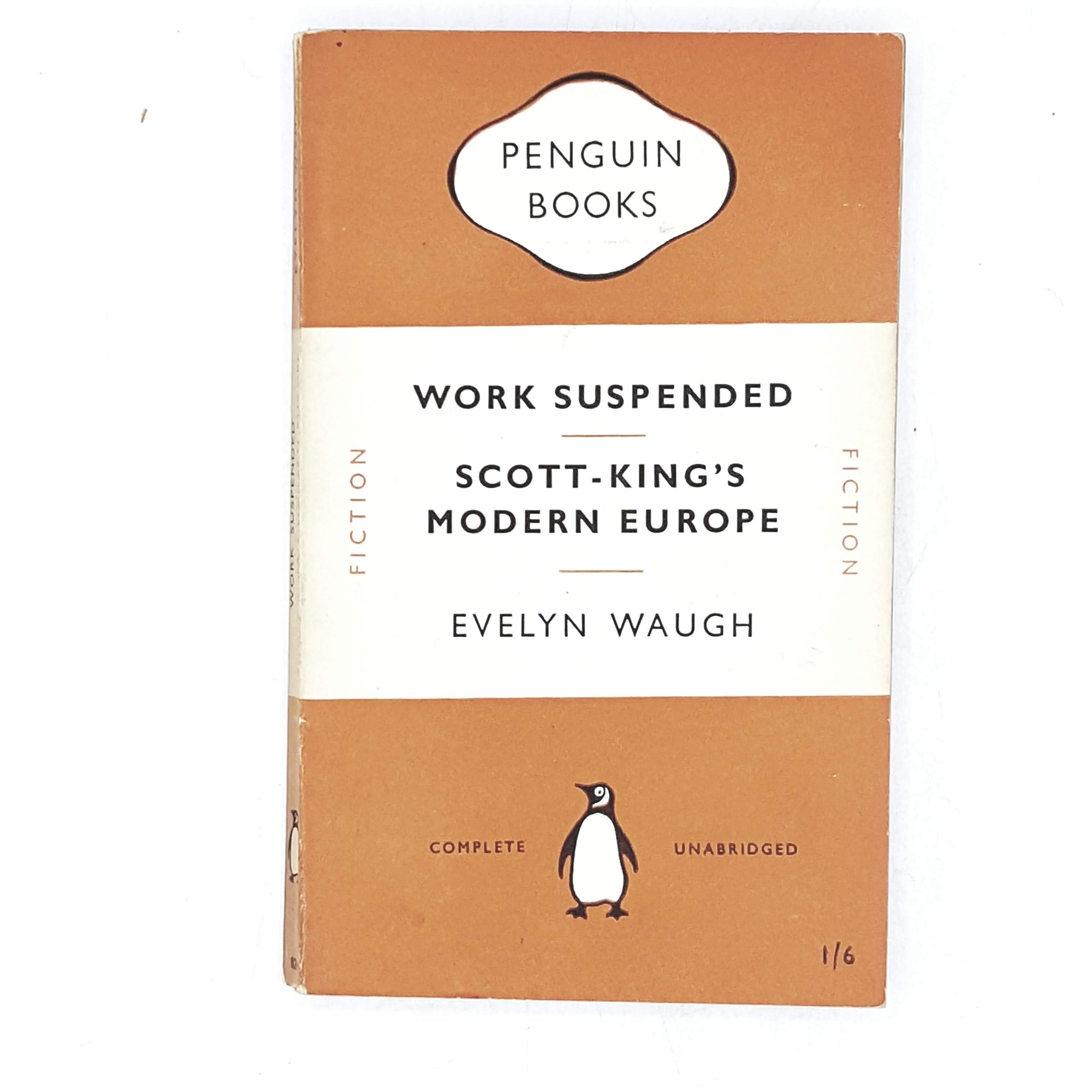 tage-penguin-work-suspended-scott-kings-modern-europe-by-evelyn-waugh-1951-orange-classic-literature-country-house-library
