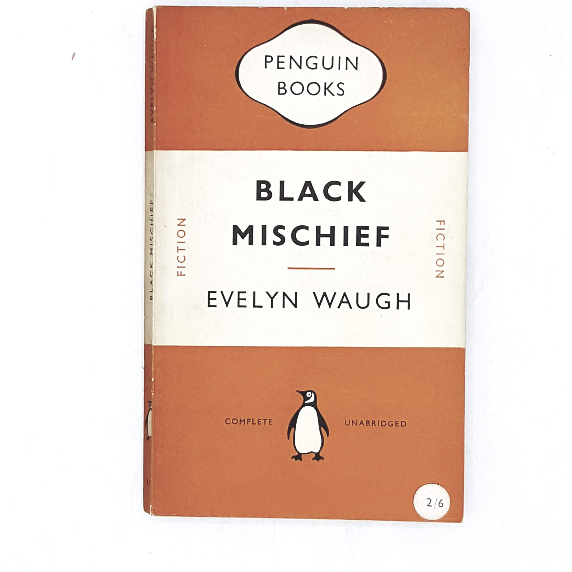 vintage-penguin-black-mischief-by-evelyn-waugh-1954-orange-classic-literature-country-house-library