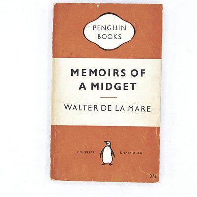 vintage-penguin-memoirs-of-a-midget-by-walter-de-la-mare-1955-orange-classic-literature-country-house-library