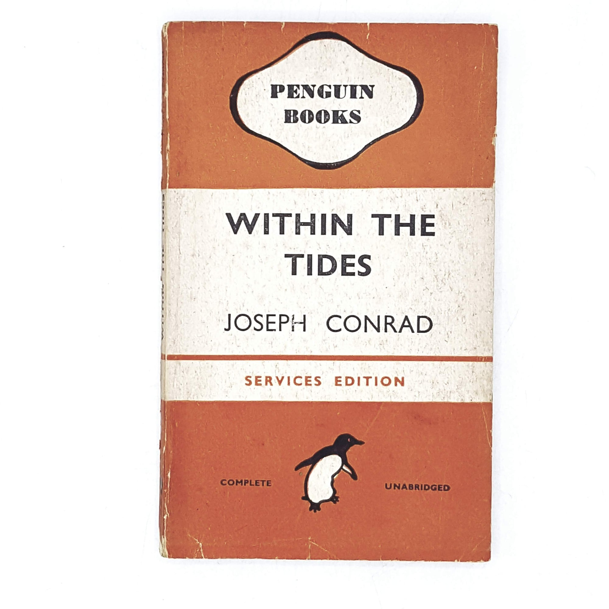 vintage-penguin-within-the-tides-by-joseph-conrad-1945-orange-classic literature-country-house-library