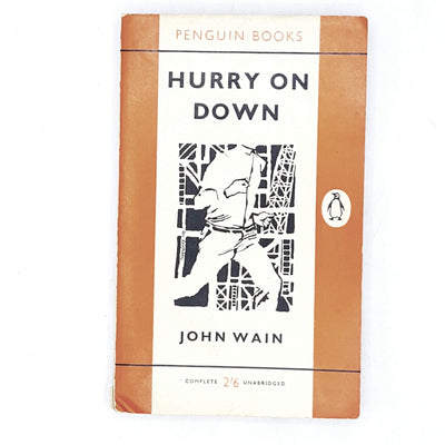 vintage-penguin-hurry-on-down-by-john-wain-1960-orange-classic literature-country-house-library