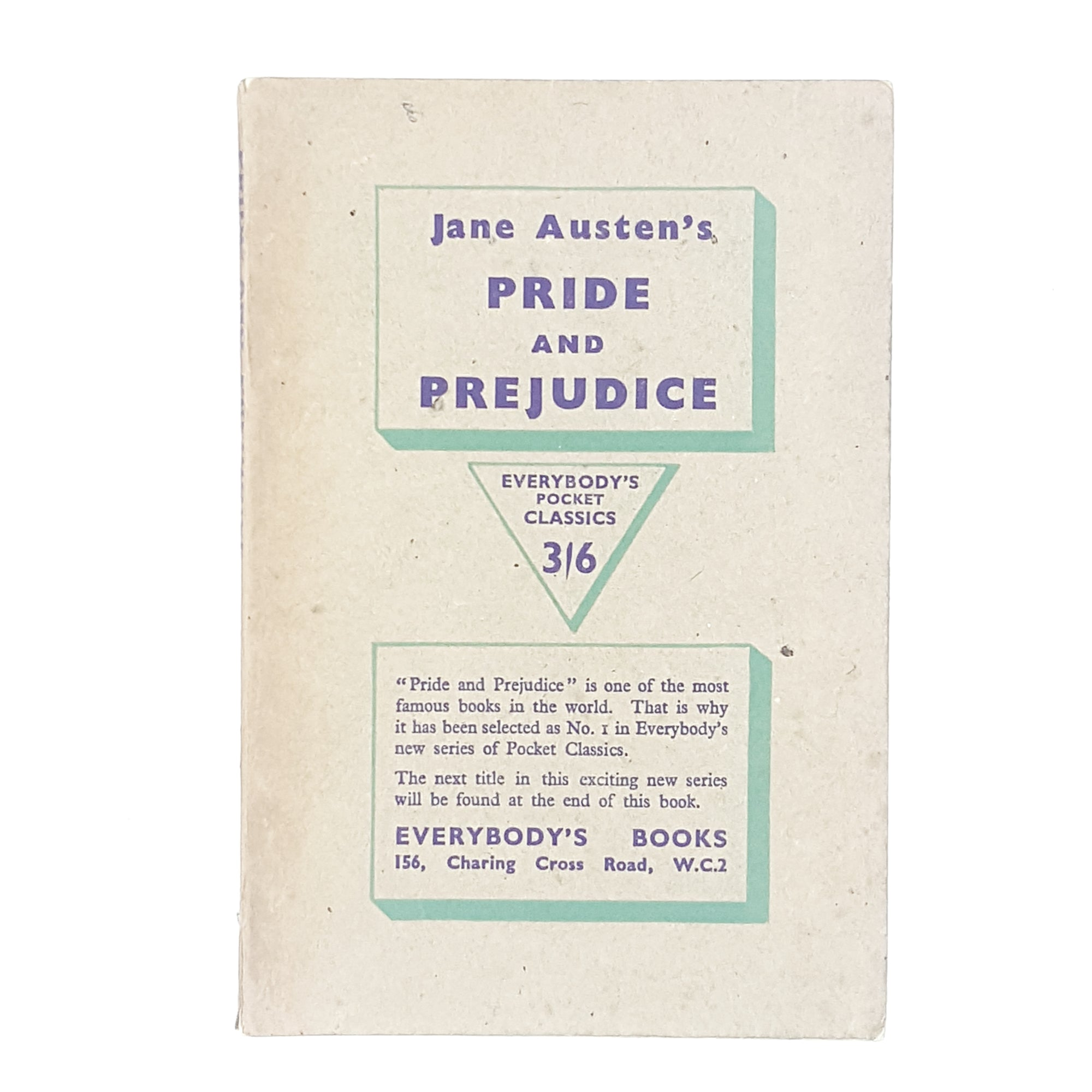 Jane Austen's Pride and Prejudice Everybody's Pocket Classics Edition 1946