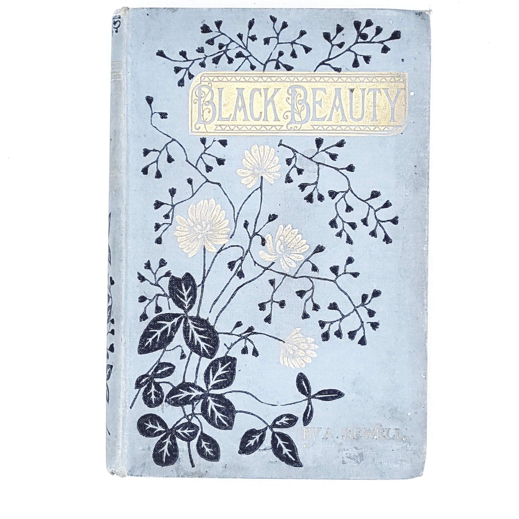 black-beauty-vintage-blue-flowers-book