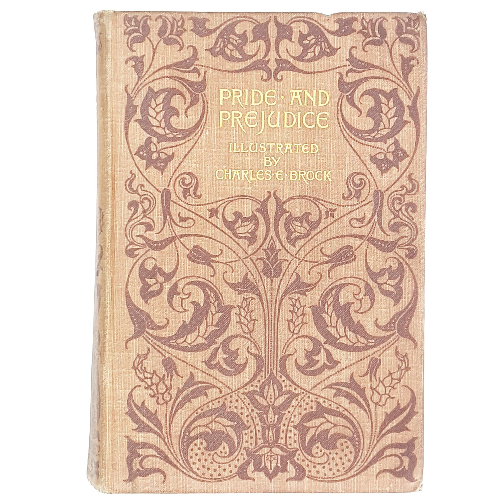 illustrated-jane-austen-pride-prejudice-old-book-1901-orange-brown-earth-tones