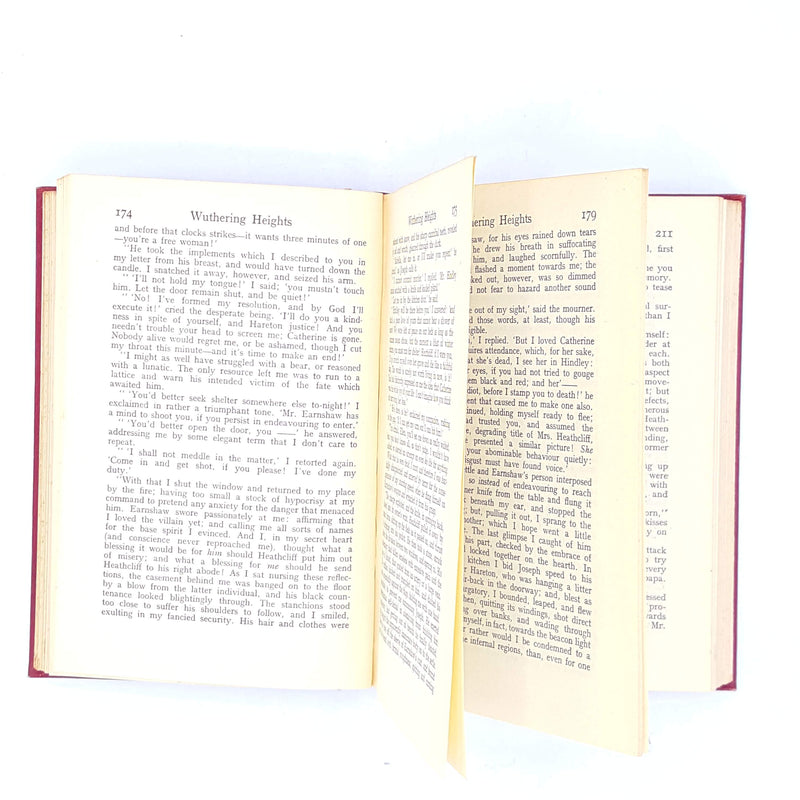 agnes-grey-anne-1933-thrift-charlotte-red-books-vintage-country-house-library-bronte-old-classics-wuthering-heights-decorative-antique-