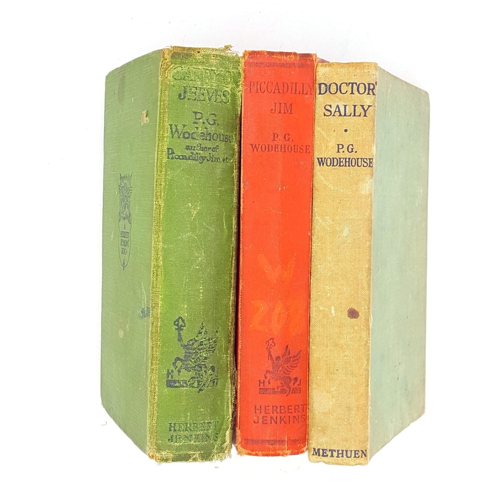 old-pg-wodehouse-herbert-jenkins-green-red-decorative-thrift-country-house-library-blue-vintage-jeeves-books-