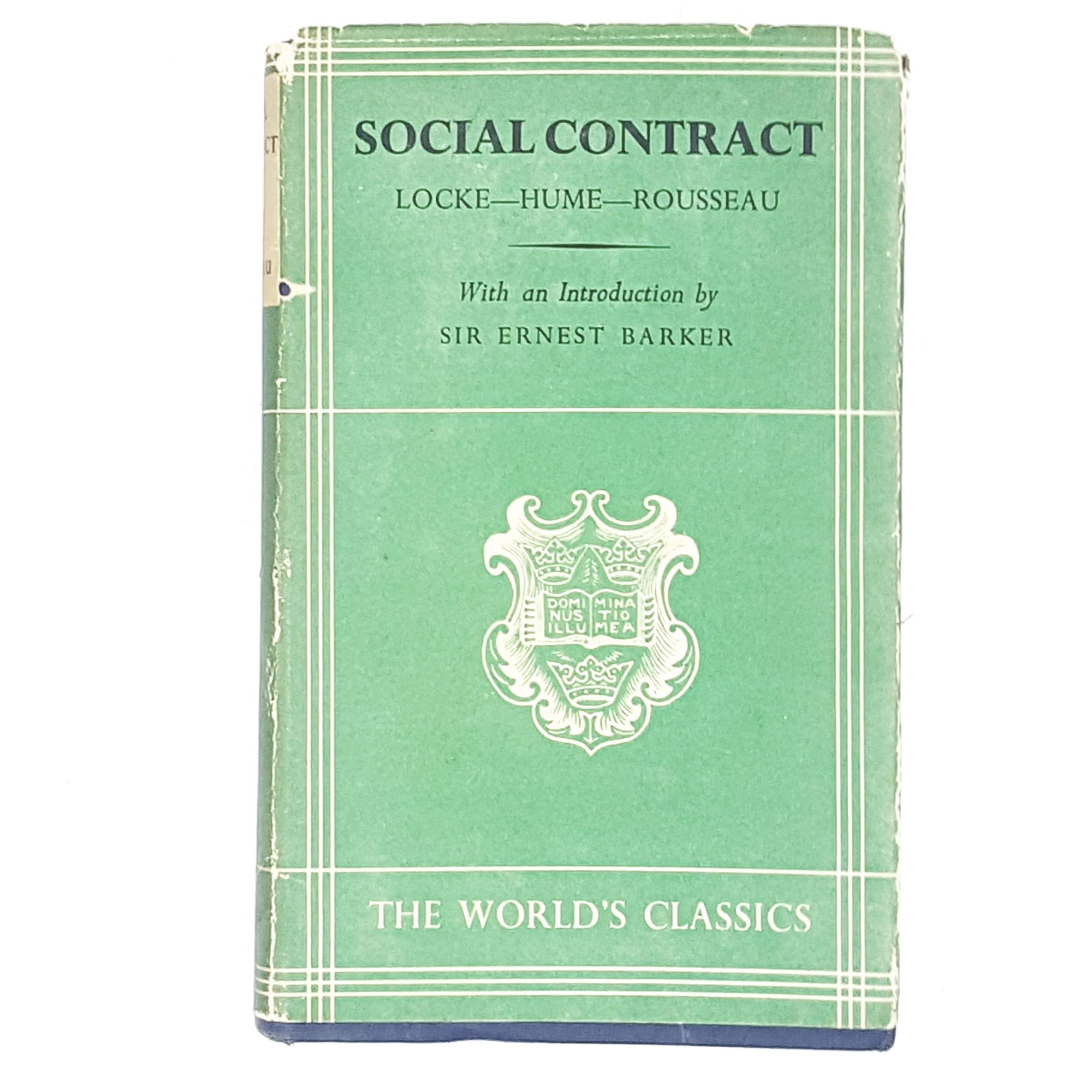 Vintage Philosophy: Social Contract: Locke--Hume--Rousseau 1958 Oxford University Press Hardcover
