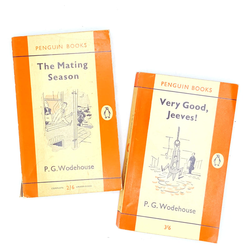 penguin-thrift-jeeves-collection-books-vintage-rare-country-house-library-old-orange-pg-wodehouse-classics-
