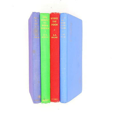 winnie-old-country-house-library-vintage-collection-blue-books-classics-rare-green-thrift-aamilne-purple-red-young-pooh-