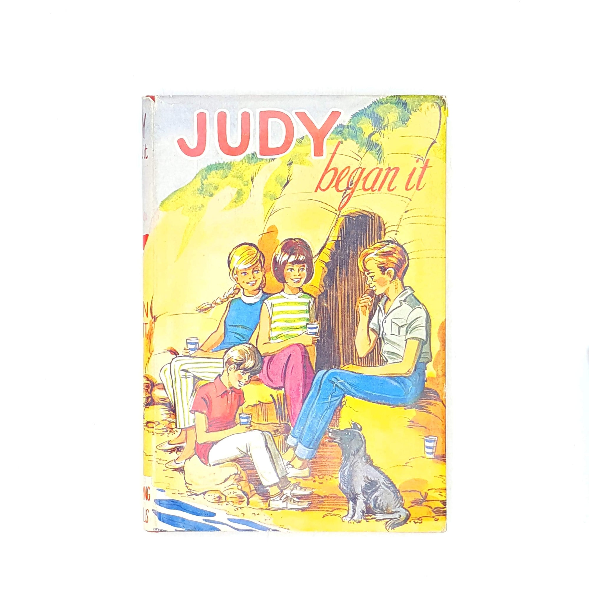 books-judy-began-it-old-classics-yellow-vintage-country-house-library-ellen-elliott-1967-thrift-childrens-