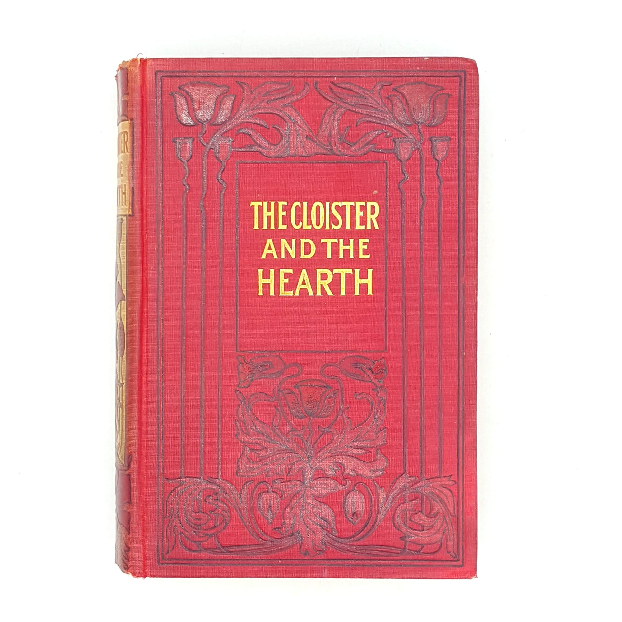 floral-vintage-books-thrift-decorative-cloister-and-the-hearth-patterned-red-antique-old-charles-reade-1908-country-house-library-