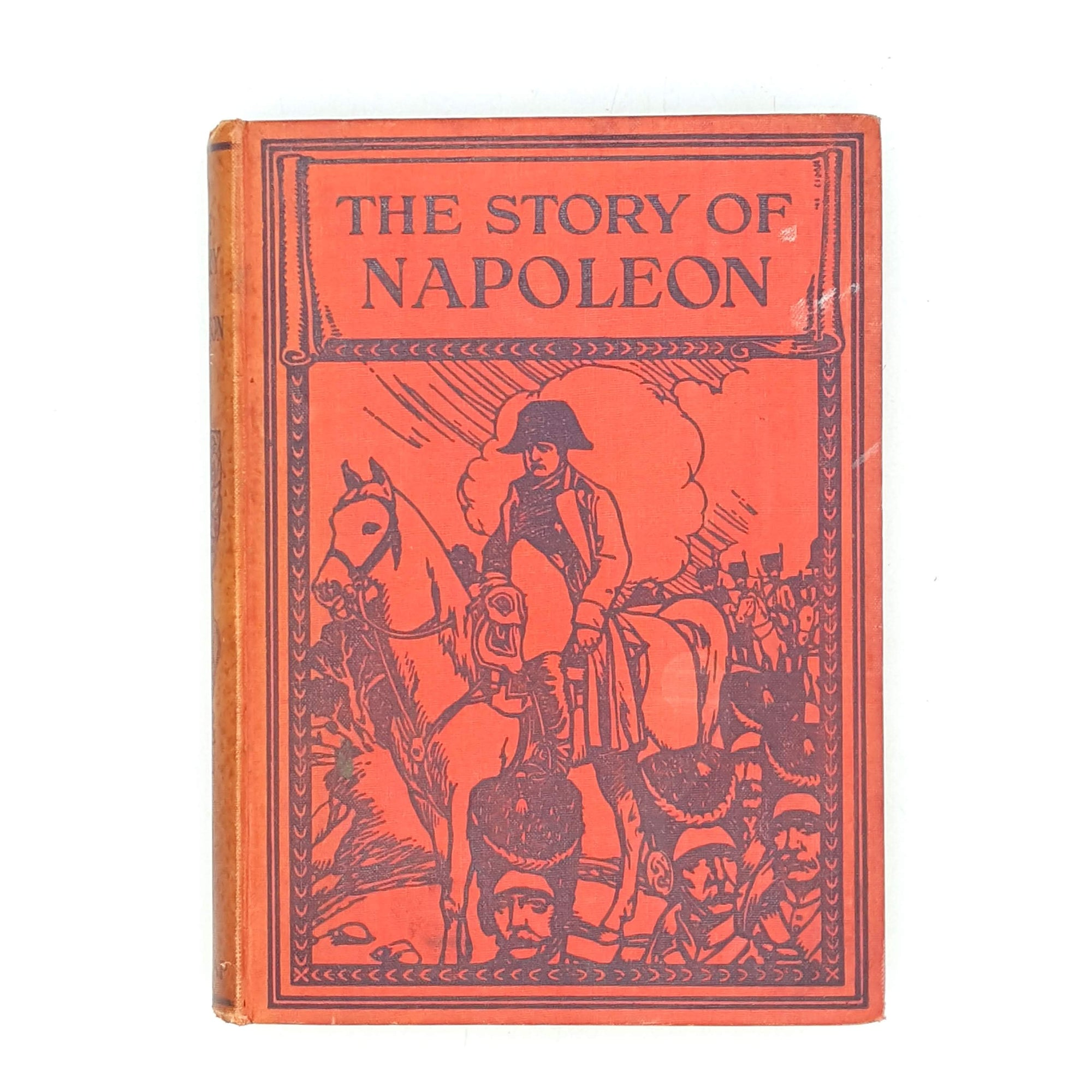 thrift-harrap-thrift-vintage-decorative-books-patterned-red-wheeler-story-of-napoleon-classics-old-antique-country-house-library-1911-