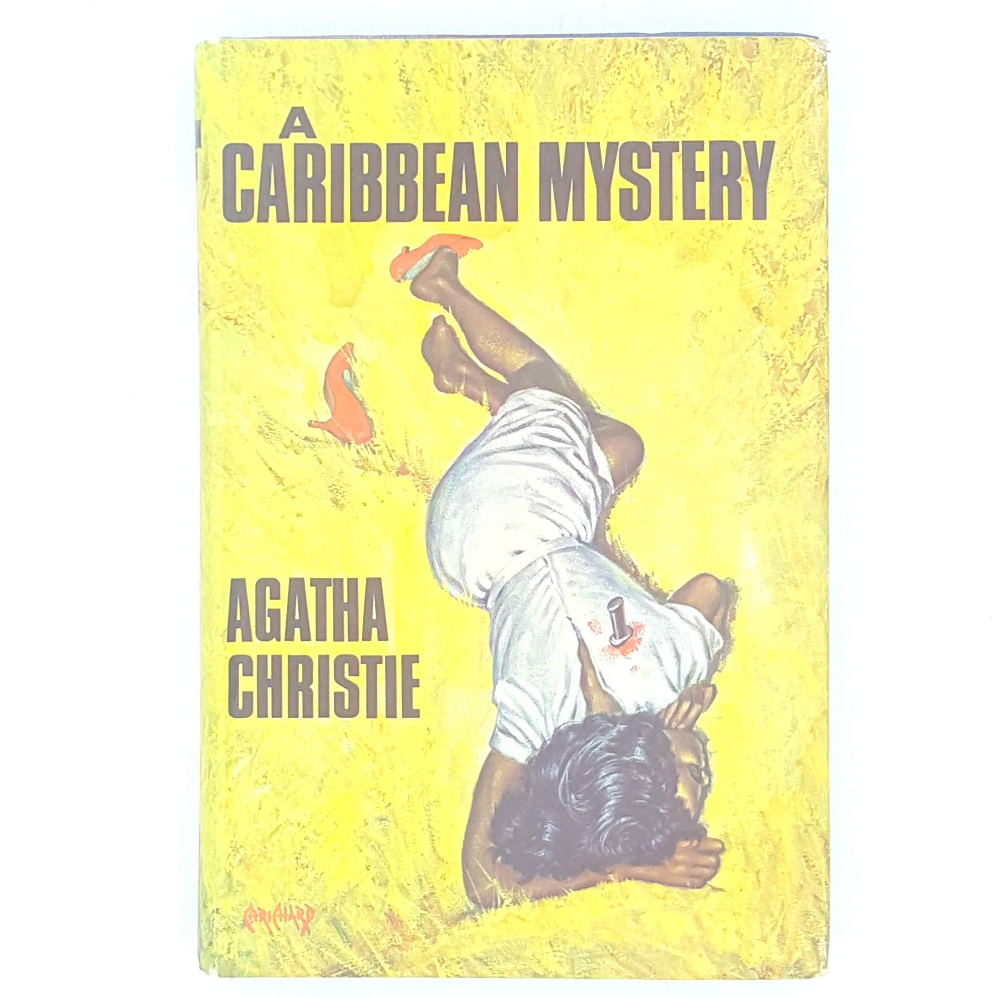 antique-miss-marple-caribbean-mystery-country-house-library-old-decorative-yellow-patterned-thrift-agatha-christie-vintage-books-