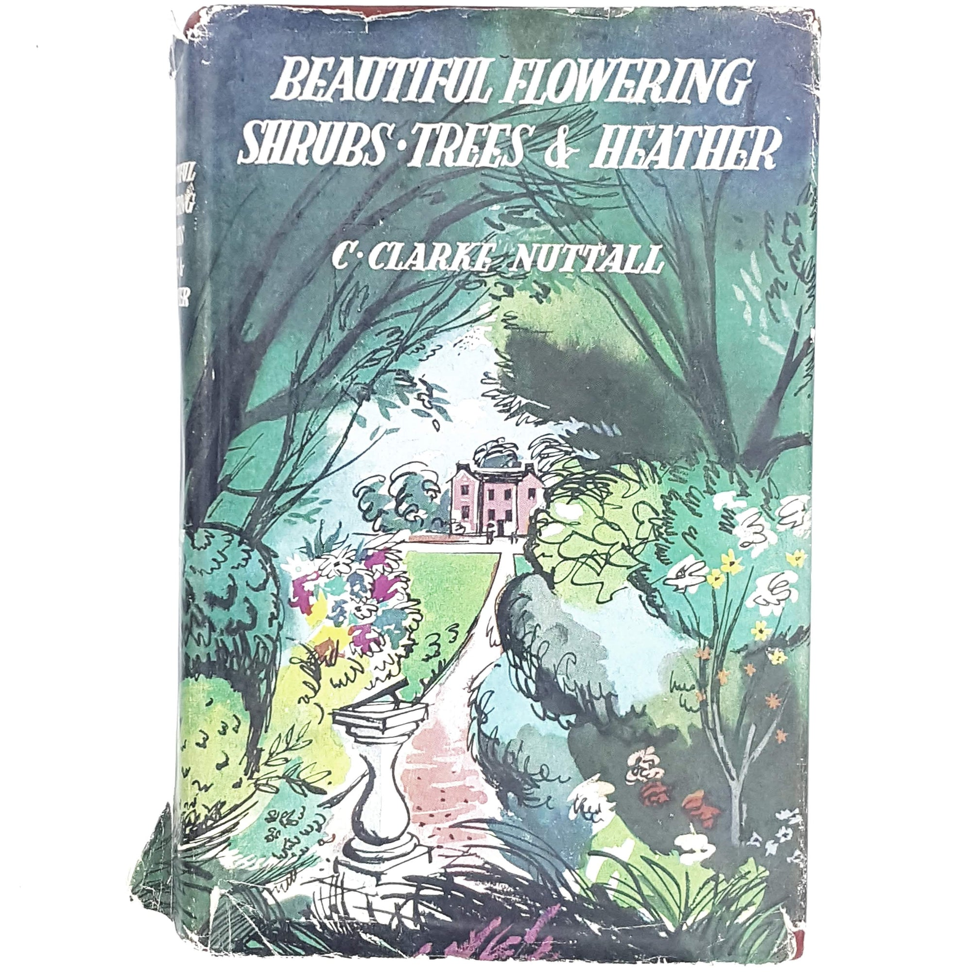 flowers-green-shrubs-vintage-book-country-house-library