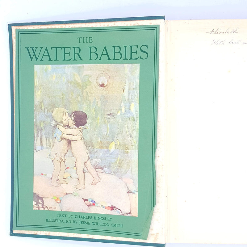 old-country-house-library-water-babies-patterned-vintage-antique-green-decorative-illustrated-thrift-charles-kingsley-classic-hodder-boots-books-