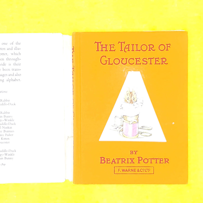 classic-patterned-beatrix-potter-tailor-of-gloucester-orange-antique-thrift-vintage-childrens-old-decorative-country-house-library-books-