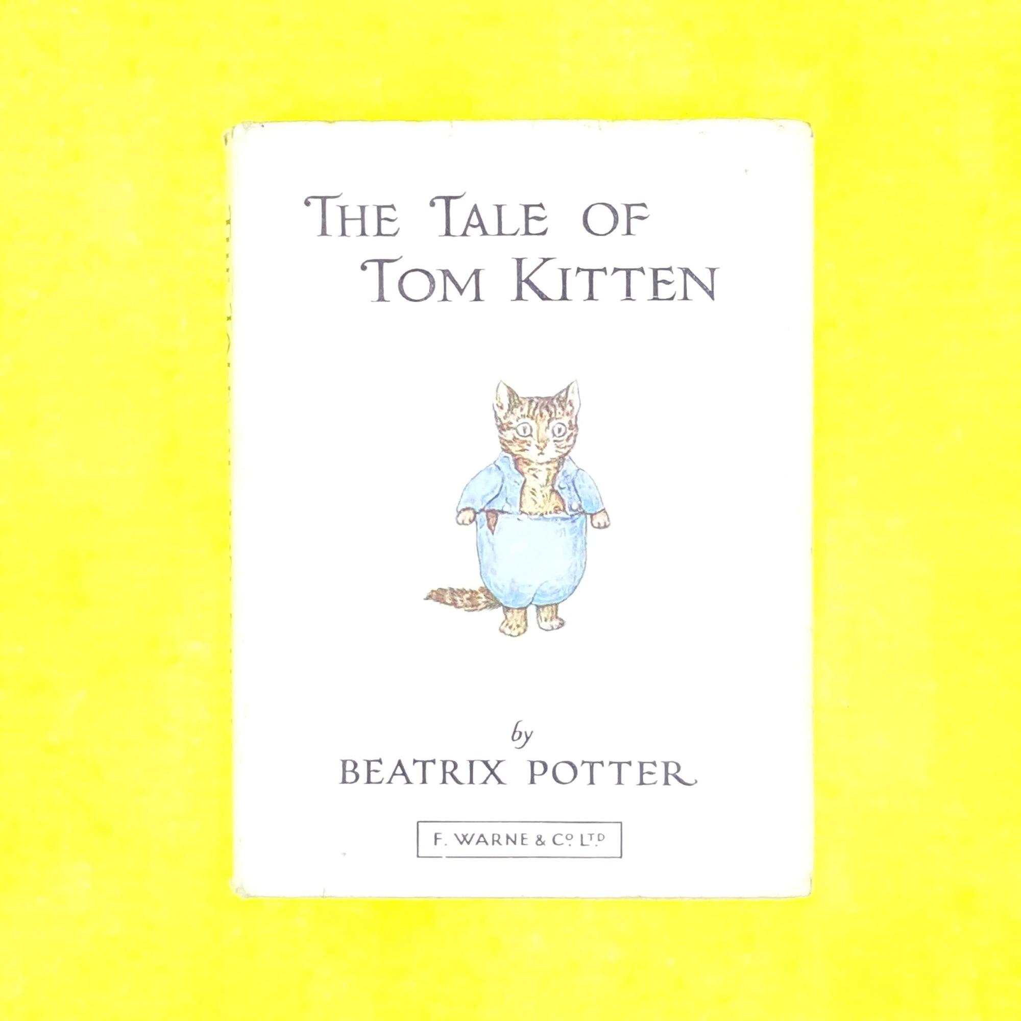 books-childrens-antique-patterned-decorative-illustrated-classic-beige-thrift-country-house-library-beatrix-potter-old-tom-kitten-vintage-