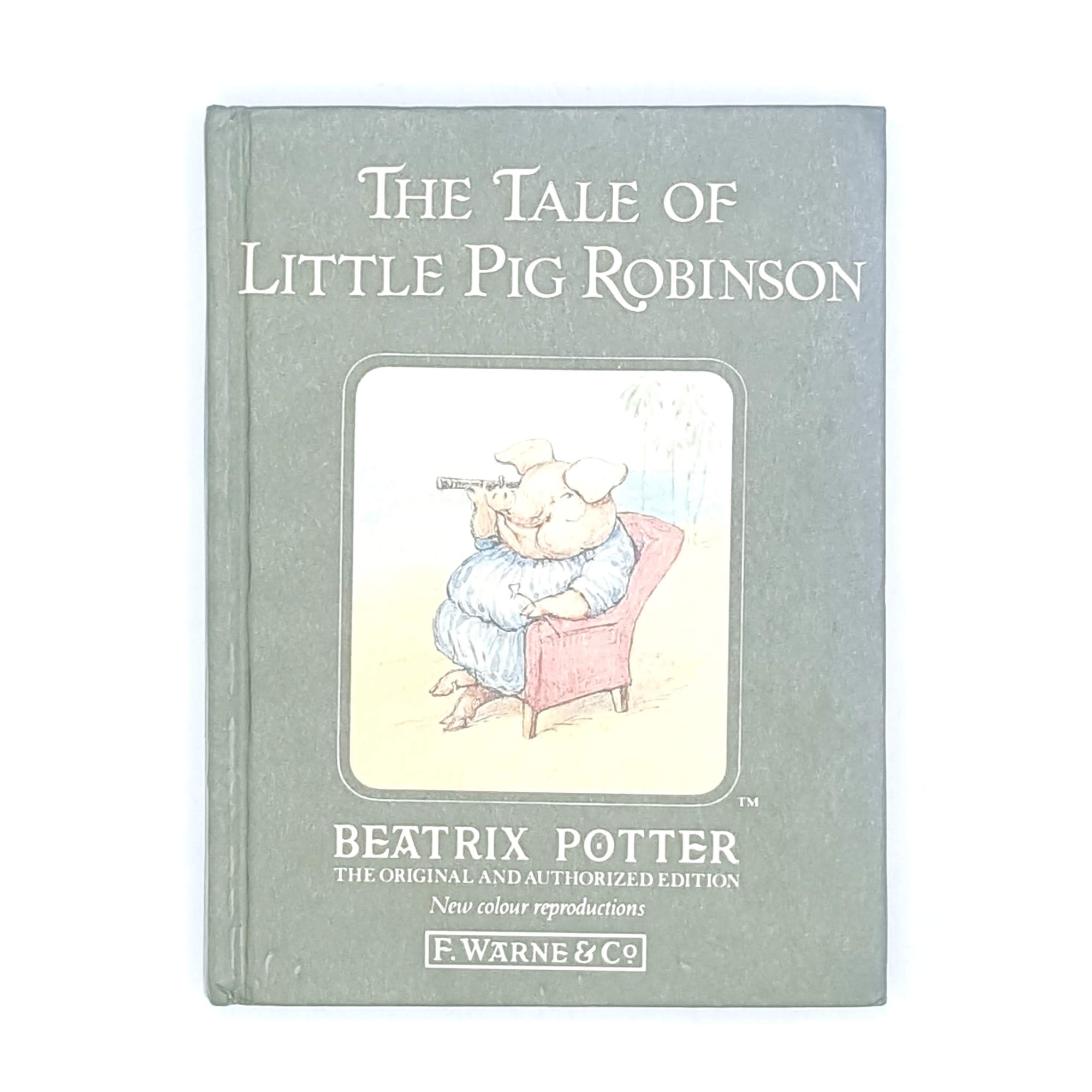 little-pig-robinson-country-house-library-vintage-books-beatrix-potter-patterned-old-decorative-thrift-classic-green-antique-childrens-