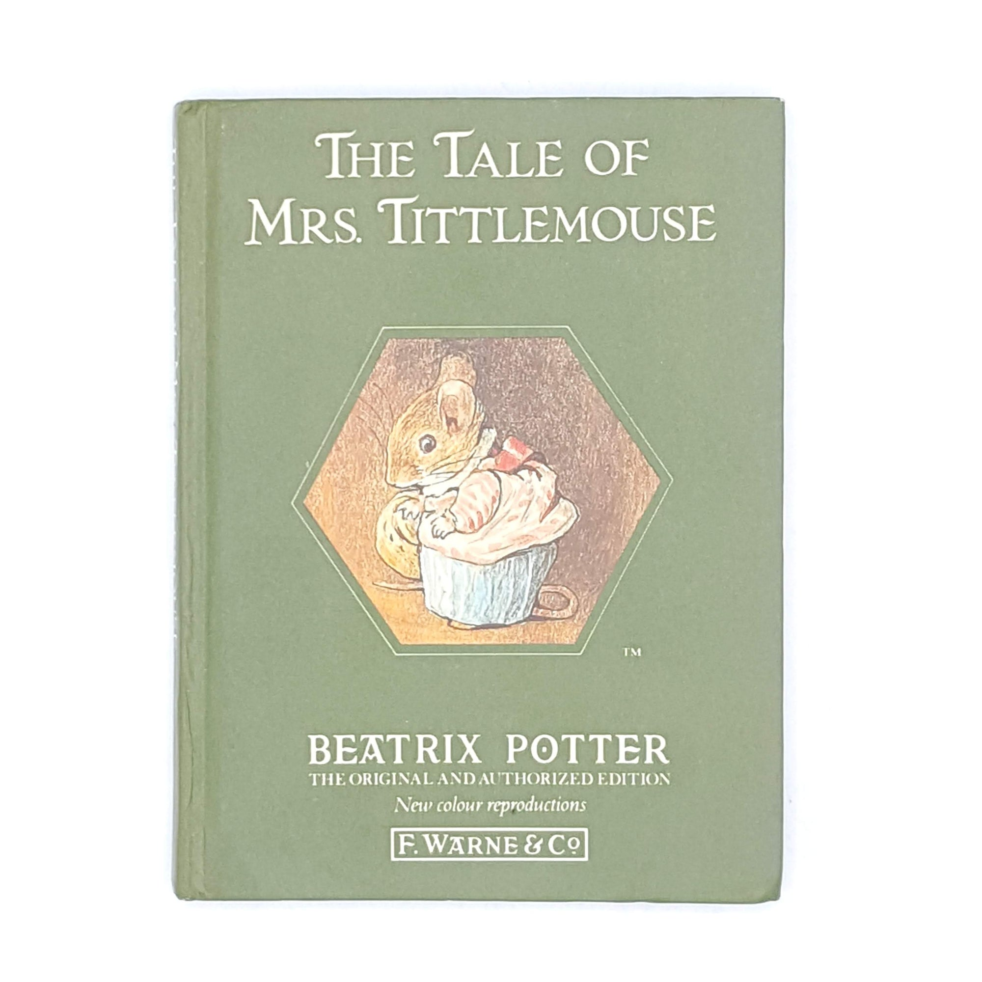 old-beatrix-potter-books-vintage-antique-green-thrift-mrs-tittlemouse-country-house-library-childrens-decorative-classic-patterned-