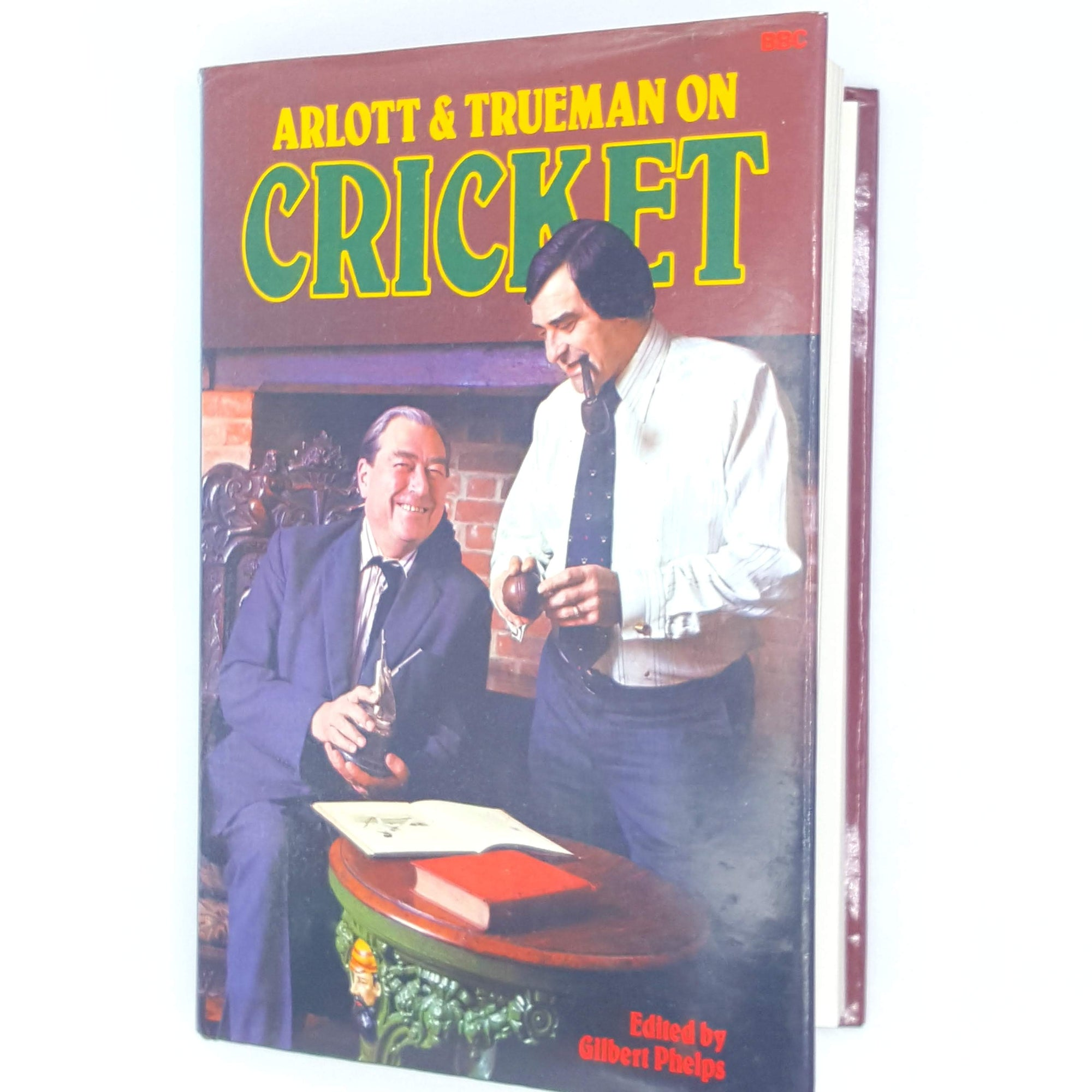 arlott-and-trueman-antique-thrift-books-england-old-cricket-english-country-house-library-BBC-vintage-classic-1977-sport-decorative-patterned-
