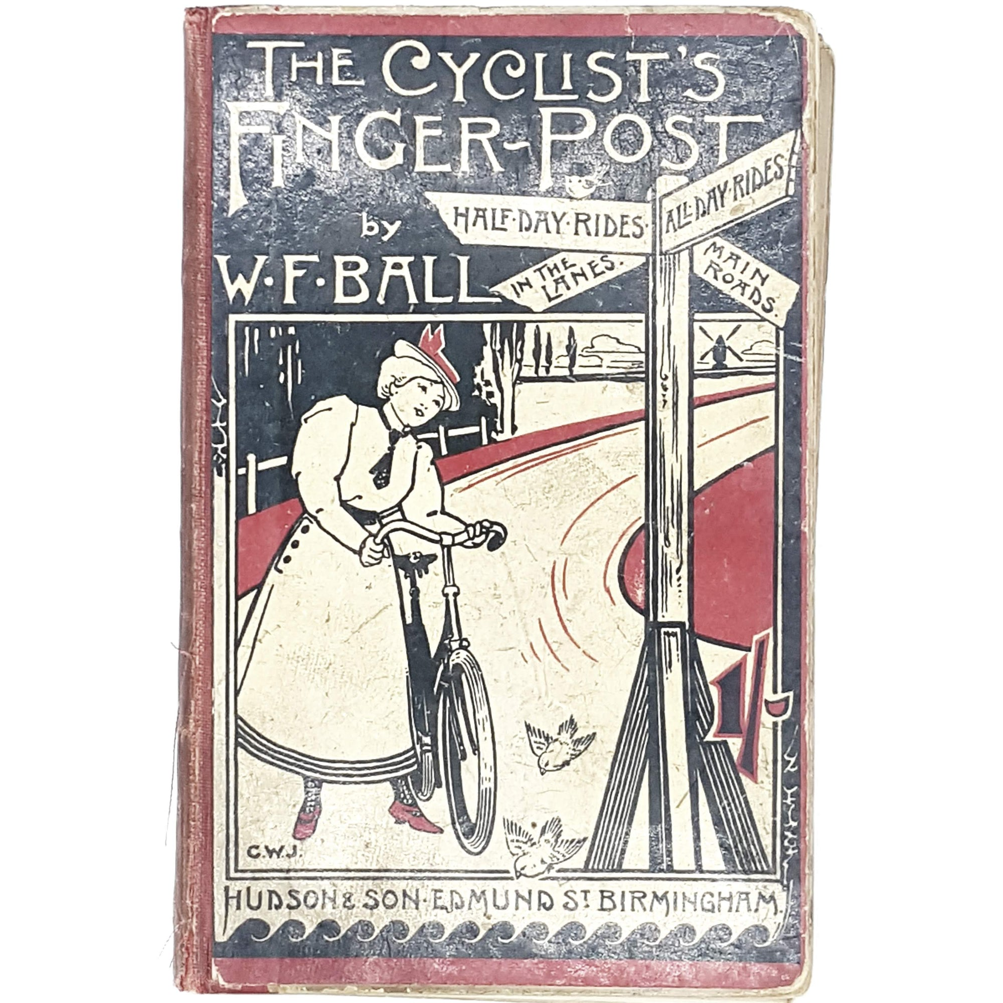 cyclists-finger-post-antique-book-country-house-library