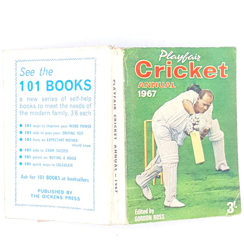 old-country-house-library-books-decorative-1967-patterned-thrift-vintage-playfairs-cricket-annual-classic-sport-cricket-antique-