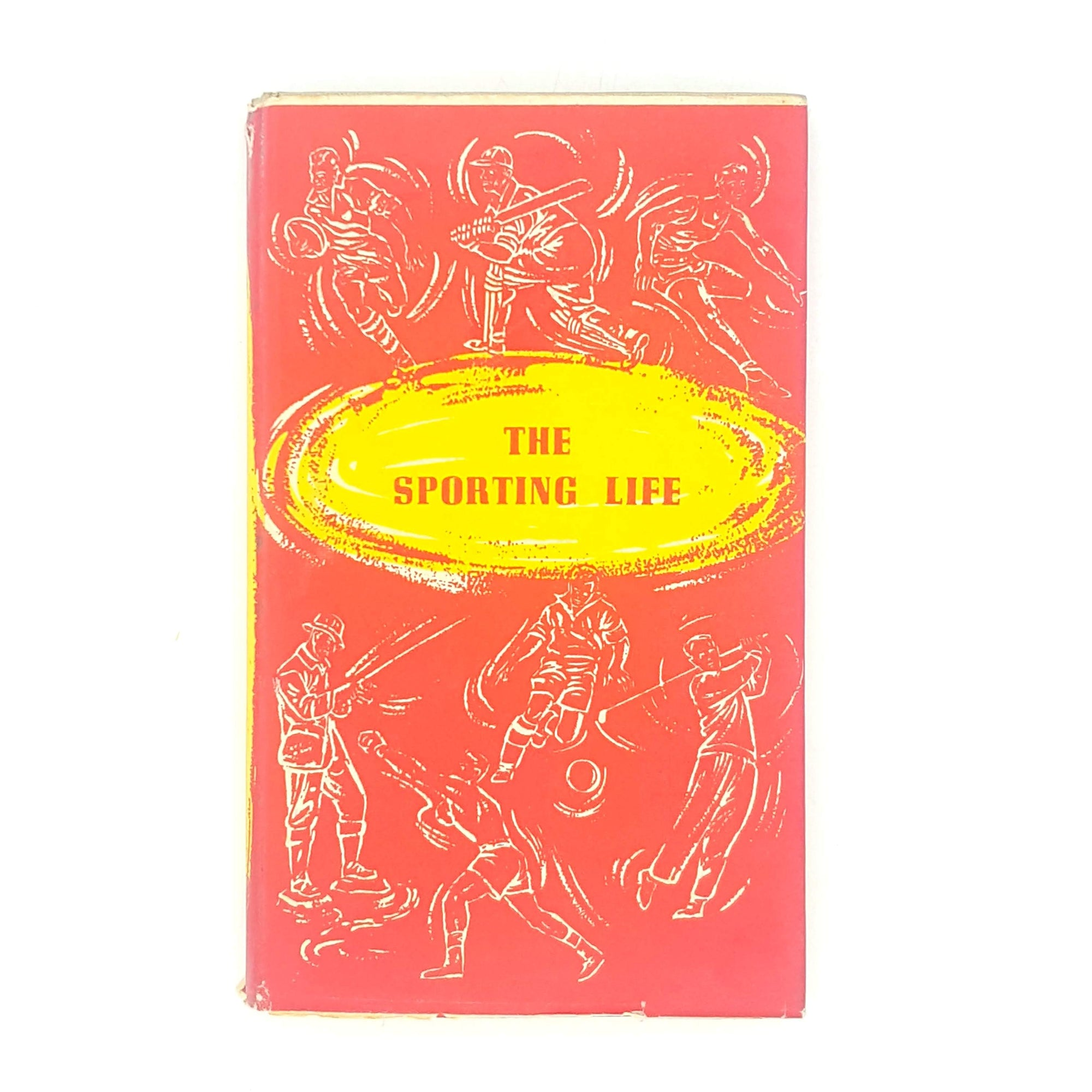 red-classic-sportsmans book-club-sport-antique-1956-books-patterned-vintage-the-sporting-life-country-house-library-old-thrift-decorative-
