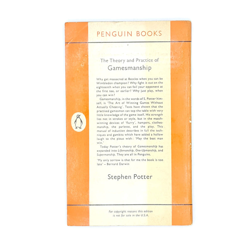 gamesmanship-patterned-penguin-old-thrift-classic-sports-orange-vintage-books-country-house-library-card-stephen-potter-decorative-antique-