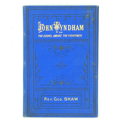 blue-religion-vintage-thrift-antique-patterned-rev-george-shaw-john-wyndham-classic-country-house-library-old-books-decorative-