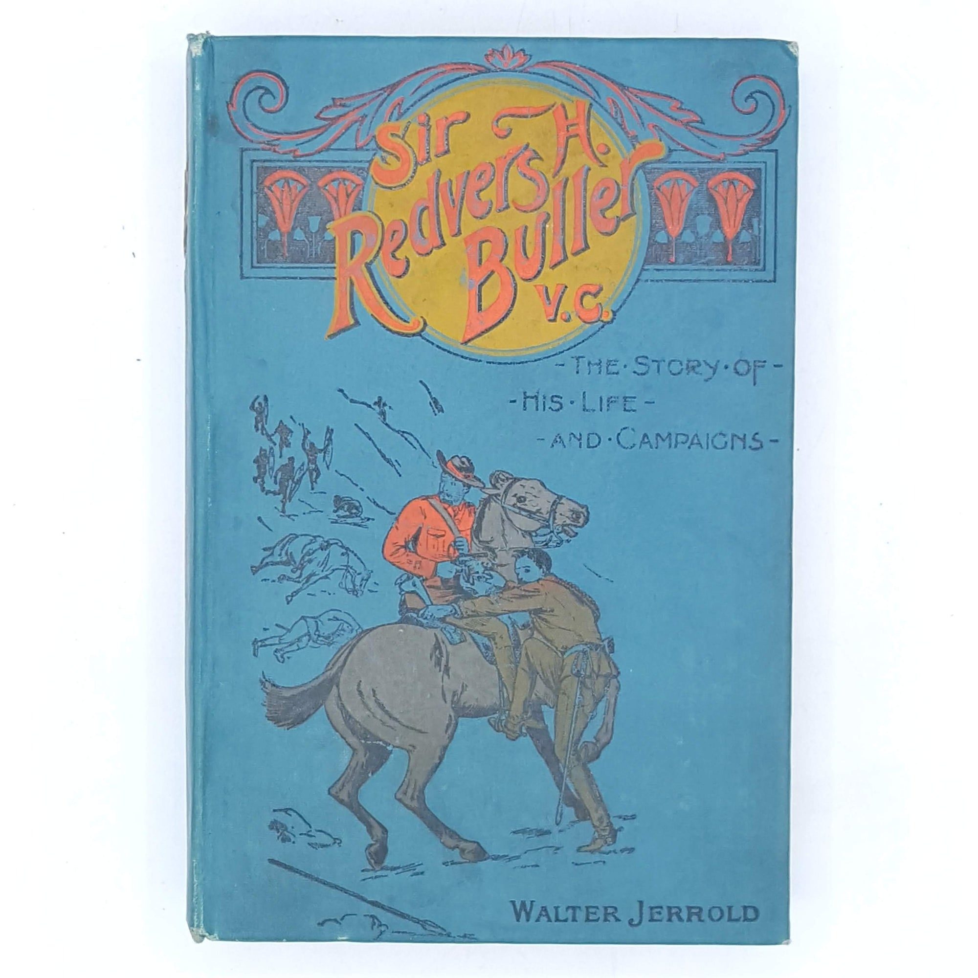 blue-patterned-walter-jerrold-1908-classic-sir-redvers-h-buller-country-house-library-books-dalton-decorative-thrift-old-vintage-antique-