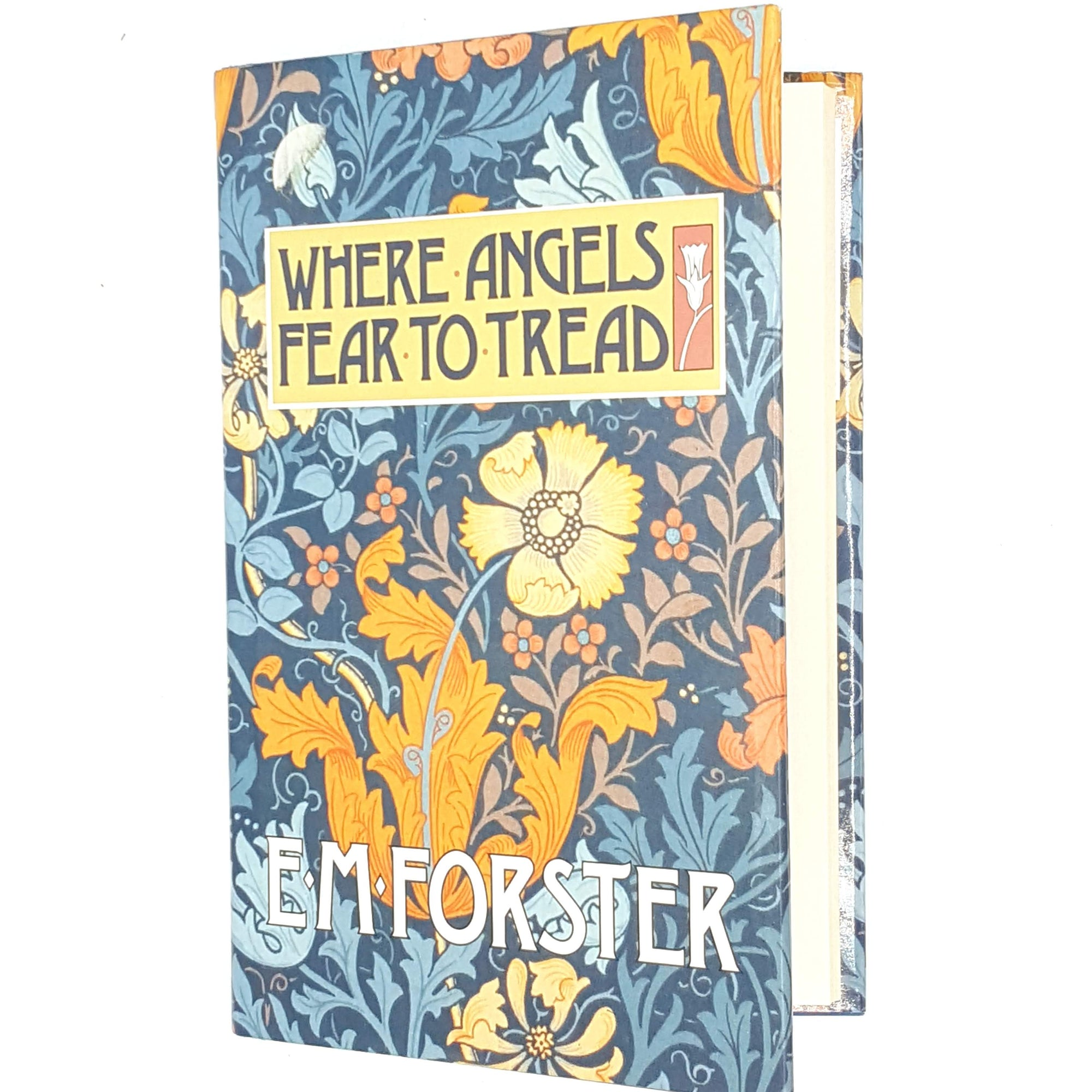 thrift-books-patterned-classic-country-house-library-vintage-BCA-where-angels-fear-to-tread-e-m-forster-decorative-old-antique-