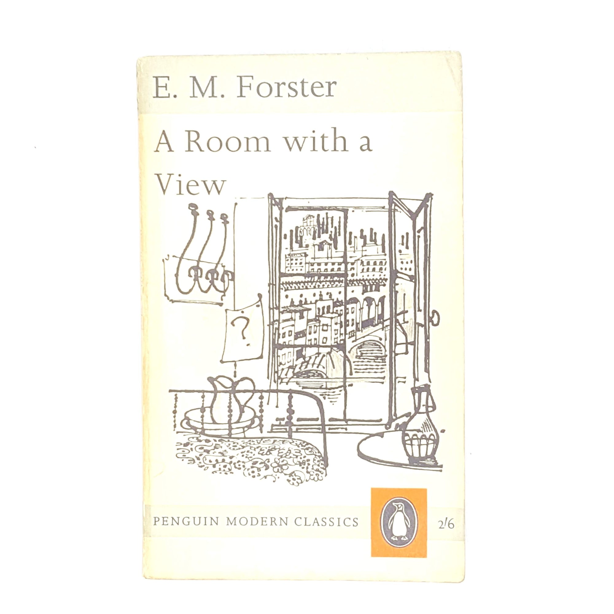 country-house-library-old-classic-thrift-antique-grey-1961-penguin-e-m-forster-modern-classics-books-vintage-a-room-with-a-view-decorative-white-patterned-