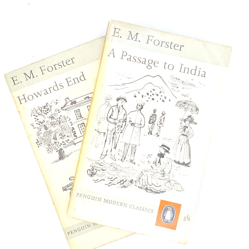 penguin-thrift-em-forster-passage-to-india-grey-patterned-classic-modern-classics-antique-country-house-library-howards-end-1960-decorative-vintage-books-old-