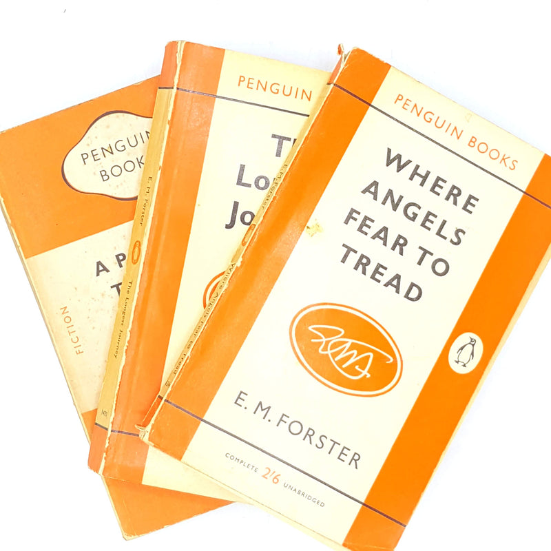 decorative-vintage-the-longest-journey-patterned-em-forster-thrift-country-house-library-old-antique-orange-a-passage-to-india-where-angels-fear to tread-penguin-books-classic-collection-