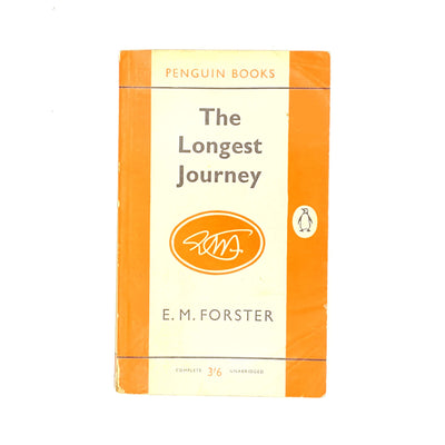antique-classic-books-orange-decorative-penguin-1960-old-country-house-library-the-longest-journey-vintage-em-forster-patterned-thrift-