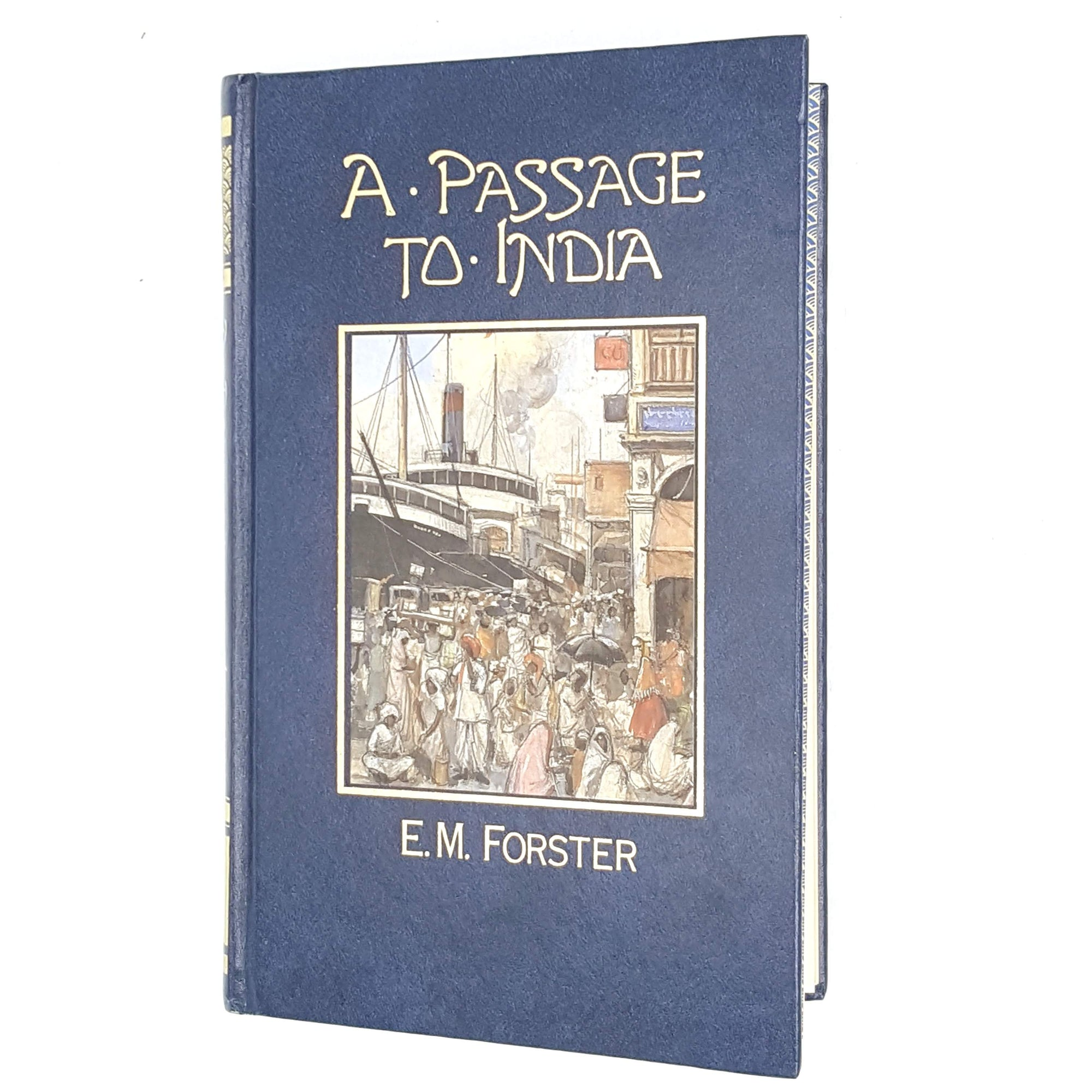 blue-decorative-classic-a-passage-to-india-thrift-books-patterned-old-marshall-cavendish-antique-country-house-library-em-forster-vintage-