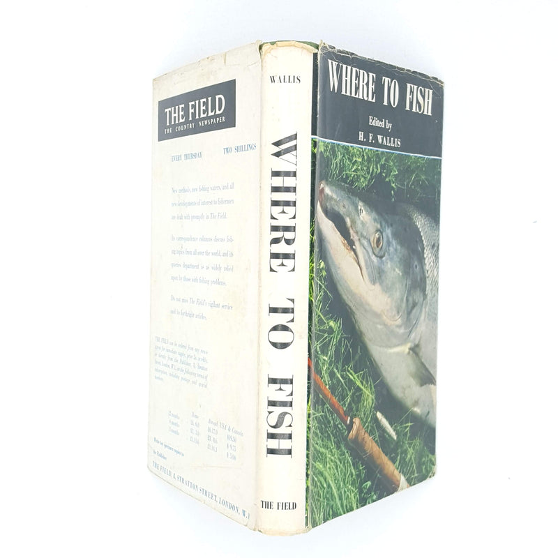 vintage-old-h-f-wallis-classic-1963-advertisements-sport-antique-books-country-house-library-fishing-1964-thrift-decorative-where-to-fish-blue-patterned-angling-