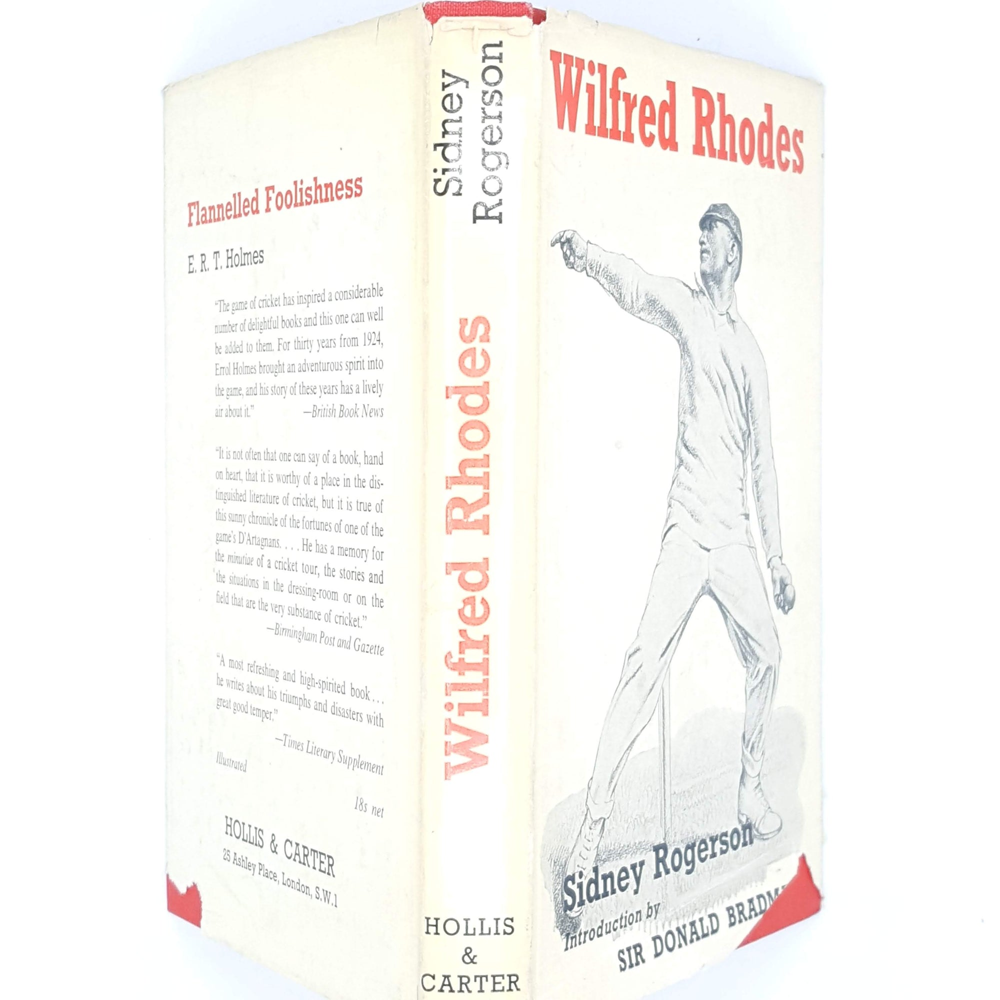 classic-antique-decorative-white-old-biography-red-sport-country-house-library-wilfred-rhodes-cricket-patterned-thrift-vintage-books-sidney-rogerson-